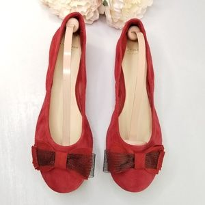Cole Haan Grand.Os tali red bow tie flats